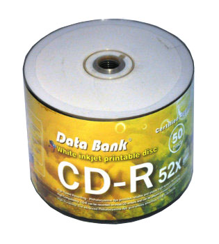Databank CD-R Silver dye full size white printable (Small hole) 50pk