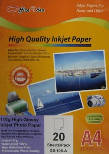 110g Inkjet High Glossy Paper 20pk (GS-108-A)