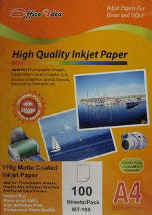 110g Inkjet Matte Coated Paper 100 pack (MT-108)