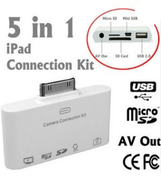 5 in 1 iPad Camera Connection kit with AV out (ipad69A)