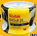 Kodak DVD+R DL 8.5GB full size white inkjet printable 50/pk